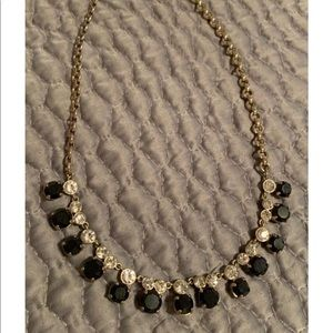 J Crew onyx, diamond, gold necklace